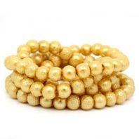 117 Golden Spray Painted Glass Beads Round  8mm Dia,